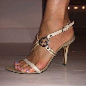 GUCCI GG strappy sandal heels cream beige